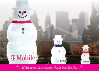 T-Mobile uses physical comparisons, in this case with Snowmen, to show how much bigger its 5G coverage is compared to AT&T and Verizon - Join T-Mobile's new campaign and help demonstrate its advantage in 5G coverage over Verizon, AT&T