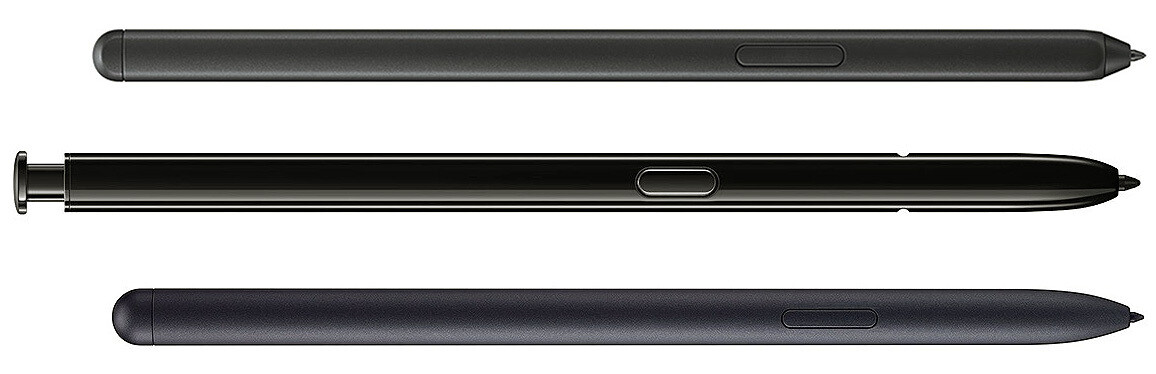 Top to bottom - Galaxy S21 Ultra vs Note 20 Ultra vs Tab S7 S Pen stylus models - The S Pen stylus support on Galaxy S21 Ultra: features, price, compatible cases