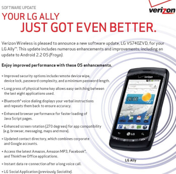 Verizon's LG Ally gets Froyo early