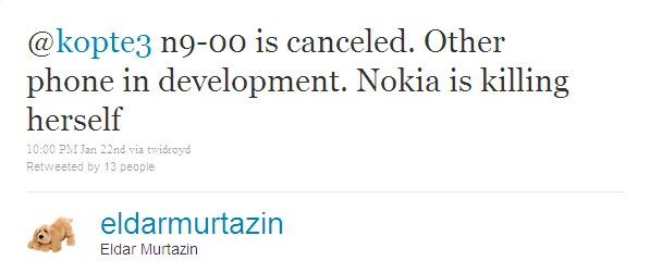 "Eldar Murtazin refers to Nokia as ""herself"", since the ""a"" in the end makes the gender feminine in Russian - Nokia might have scrapped the N9, something else running MeeGo leaks out"