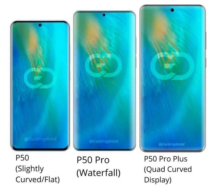 The Huawei P50 Pro Plus has a Quad Curved screen - Check out the latest rumored specs and renders of the Huawei P50 Pro 5G