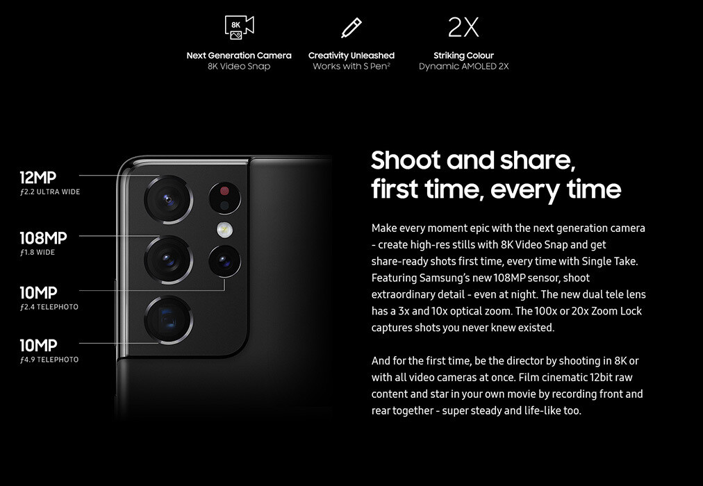 Samsung Galaxy S21 Ultra camera specs - All Galaxy S21, S21+, S21 Ultra specs revealed in a last-minute leak