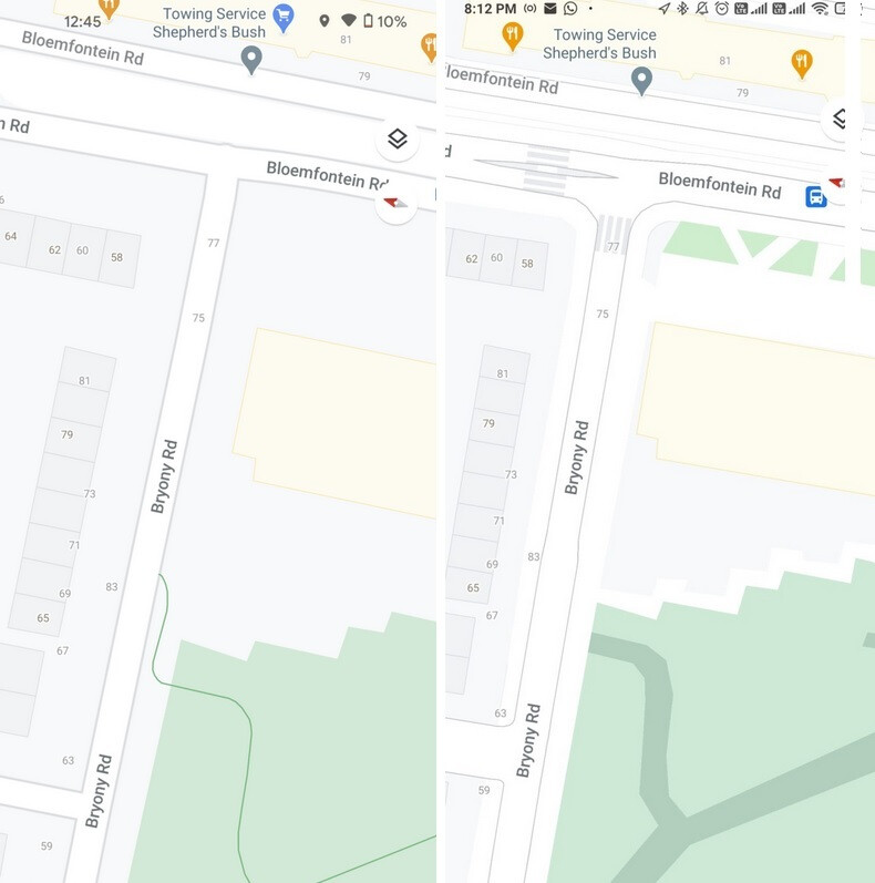 London on Google Maps; at left is the view before the update, at right is updated street level - Google Maps update makes it easier to walk through New York and three other major cities