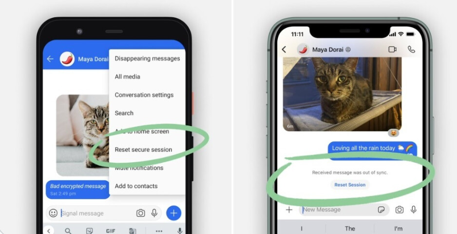 Android version of Signal on left, iOS version on the right - As it continues to grab former WhatsApp subscribers, Signal remains down for the second day