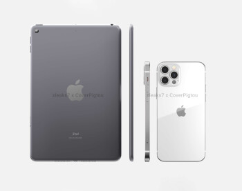 Apple's alleged iPad mini 6 versus iPhone 12 Pro - sketched iPad mini 6 leak points against touch ID on the screen, hollow camera