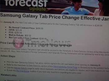 T-Mobile Samsung Galaxy Tab price drop to $249.99 is expected January 26th