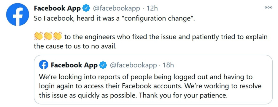 The Facebook App Twitter account responds to a bug that signed iPhone users out of the app - Facebook kicked Apple iPhone users out of their accounts on Friday