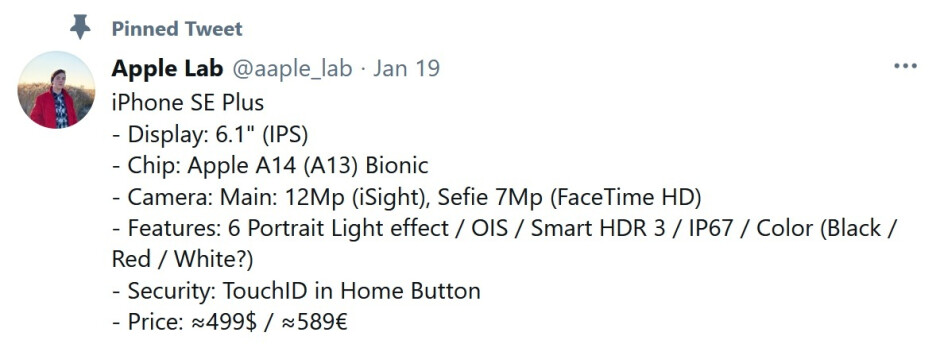 Twitter tipster shares rumored specs for a possible Apple iPhone SE Plus model - Check out the possible specs for a rumored 6.1-inch Apple iPhone SE Plus
