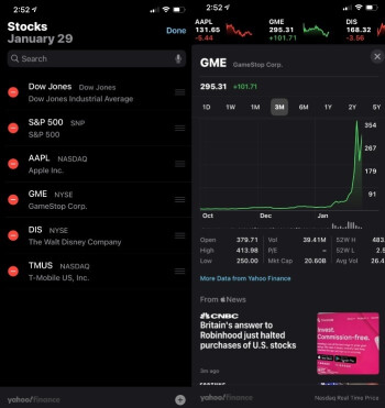 The iOS native stock app includes prices and charts - The role of mobile tech in the current