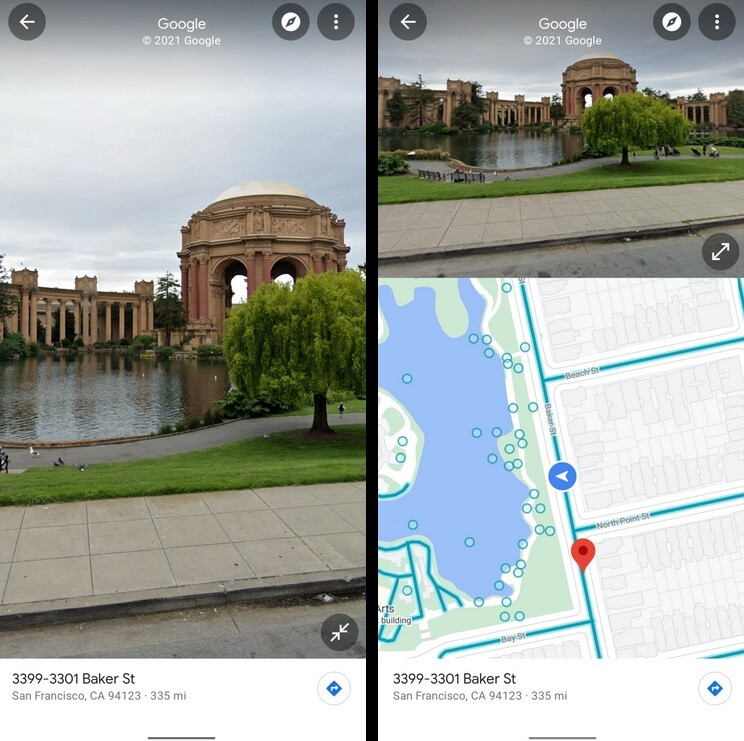 At left, the regular full-screen UI. At right, the new split-screen view - Google testing split-screen UI for Maps' Street View on Android