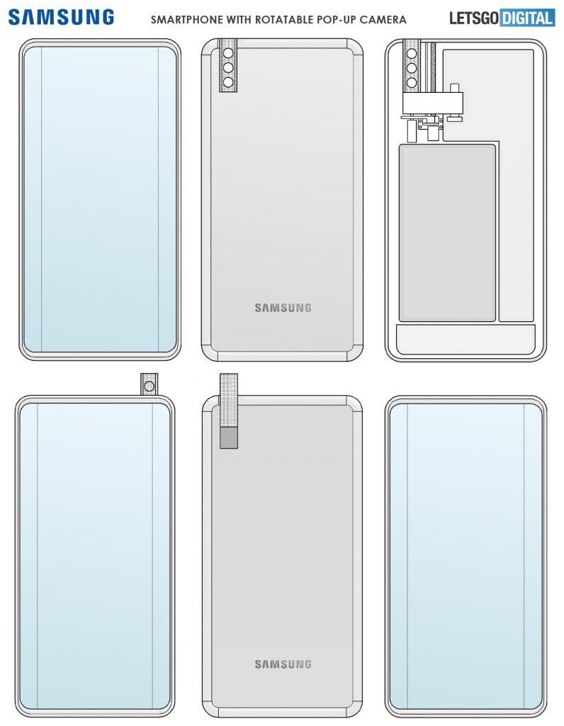 Samsung Galaxy phone with a pop-up rotating camera? It may happen, check out the patent and renders