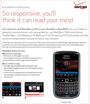 BlackBerry 6 OS should be ready for an OTA update  for your Verizon branded BlackBerry Bold 9650