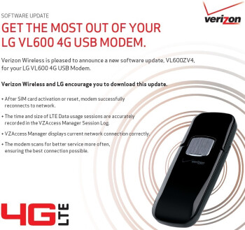 Software update for Verizon's LG VL600 4G LTE USB modem
