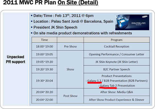 MWC 2011 PR plans for Samsung. - MWC 2011 PR plans show both the Samsung Galaxy S 2 & Tab 2 are on schedule