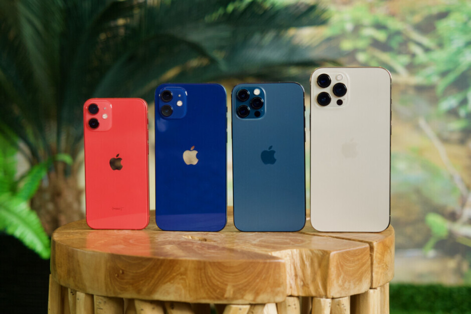 The 5G Apple iPhone 12 family with the mini at the far left - Apple will reportedly stop 5G iPhone 12 mini production next quarter