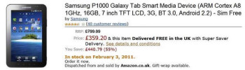 Amazon UK slashes the price of the unlocked Samsung Galaxy Tab to £359