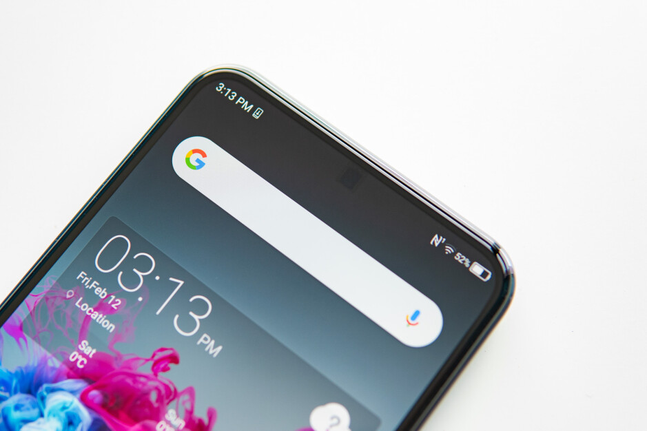 Although visible in photos like this one, the square above the camera is hard to notice with the naked eye on this wallpaper - A close look at the world's first under-display phone camera