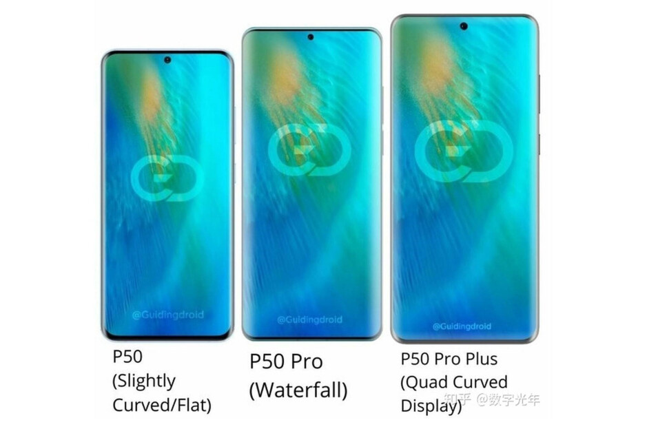 Huawei P50 series alleged design - Huawei P50 series will likely be unveiled towards the end of March