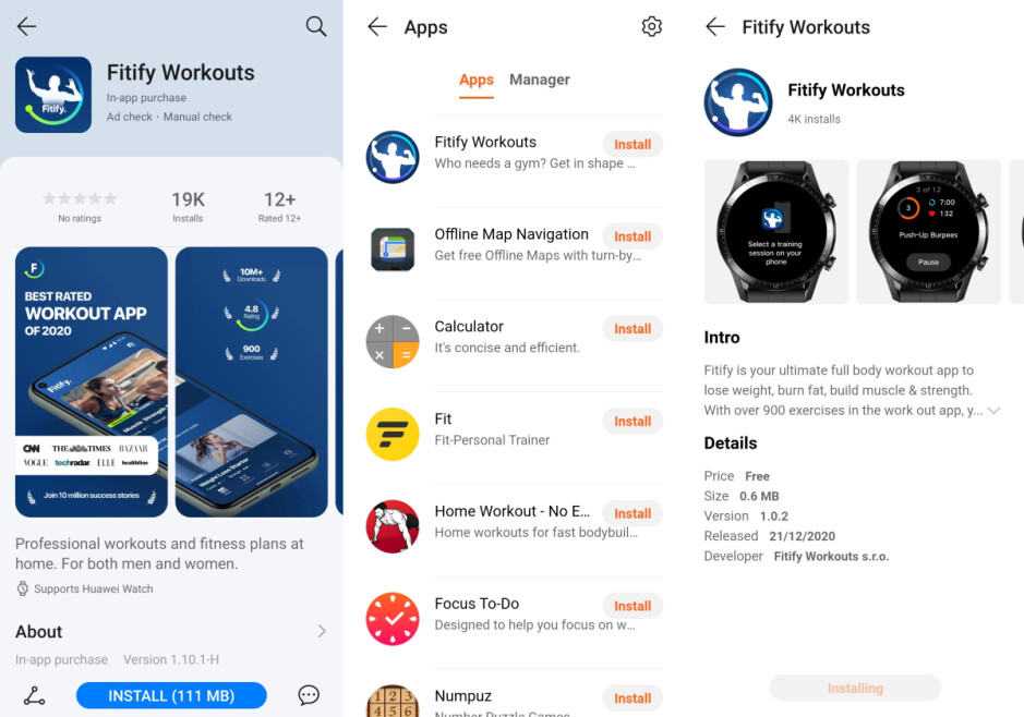 Fitify is the first third-party app for Huawei smartwatches