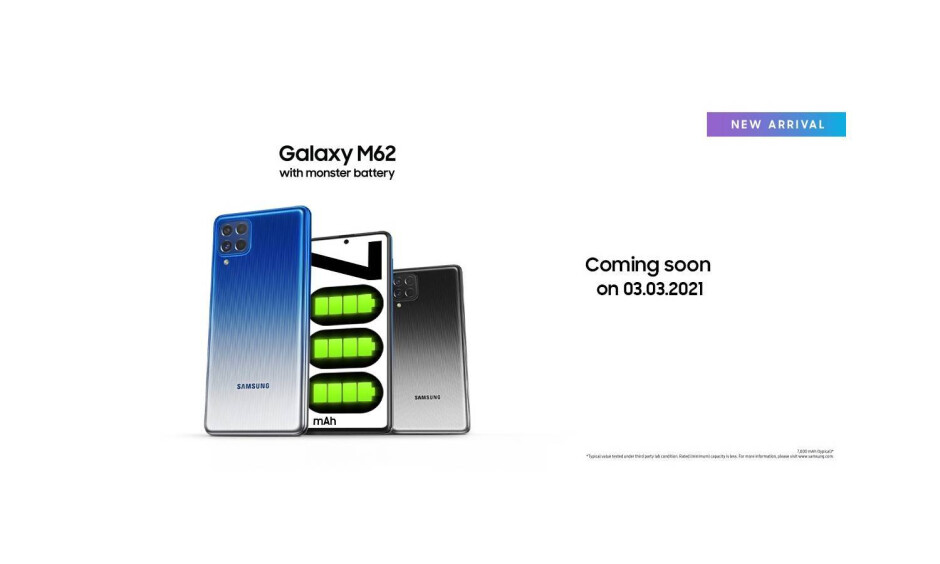 Galaxy M62 teaser on Lazada - Samsung's new 7,000mAh battery phone headed to more markets