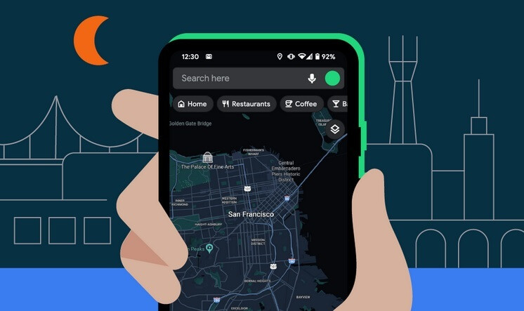 oogle Maps showing San Francisco in Dark Mode - These new and useful Android features are heading your way