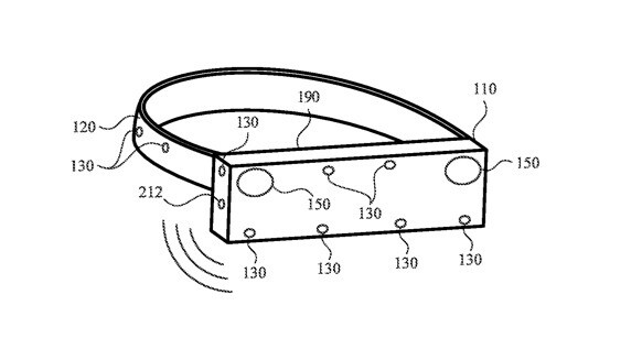 Illustration from the patent showing the possible arrangement of the microphones - New patent shows how Apple Glass might detect sound and direct you to its origin