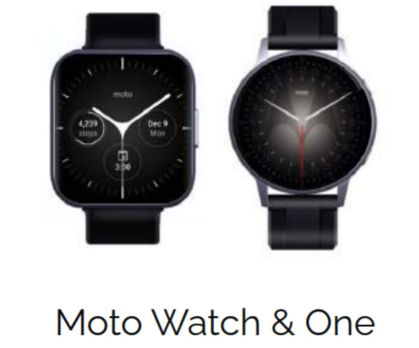 The rumored Moto Watch One at left and the Moto Watch at right - Three new Moto smartwatches rumored to be coming this summer