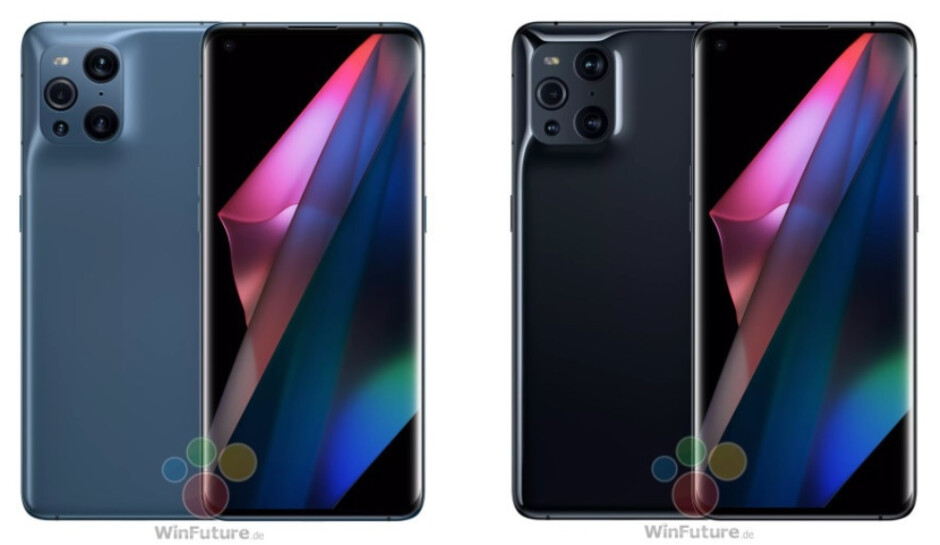 The flagship Oppo Find X3 Pro in Blue at left and in Black at right - New photos show off Oppo's upcoming new 5G flagship just days before unveiling