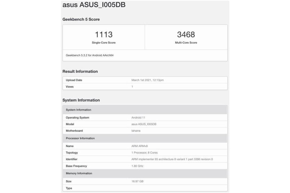 Asus ROG Phone 5 16GB alleged Geekbench listing - Geekbench listing reveals Asus ROG Phone 5's dizzying RAM count