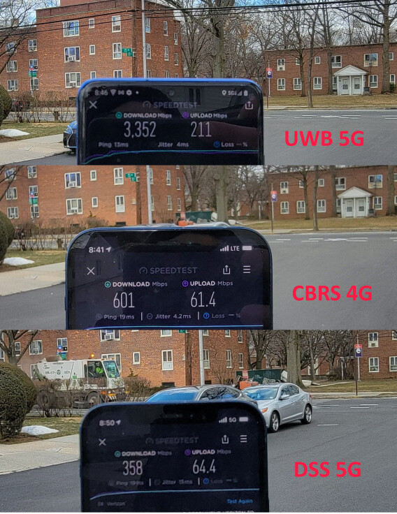 Verizon's current CBRS 4G vs 5G Ultrawide Band vs 5G DSS network technology speeds (image via PCMag.com) - Do you really need a 5G phone right now?