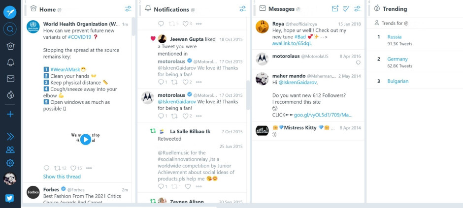 TweetDeck's current desktop look - TweetDeck to get its first major update in 10 years