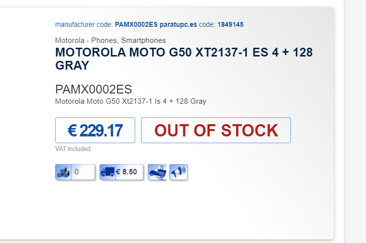 The Moto G50 is currently listed as out of stock onPartupc - Premature listing reveals Moto G50 price, sure appears to be Motorola's cheapest 5G phone