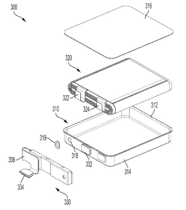 Illustration from a patent application filed by Apple that would allow Apple to include larger batteries with its devices - Apple seeks to put larger batteries in future iPhone models and in other devices
