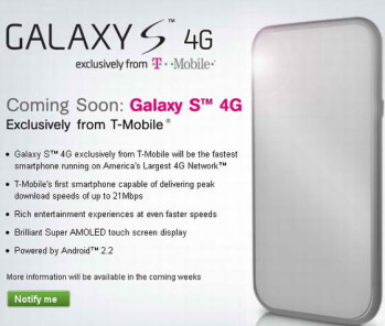 Sign up page for the Samsung Galaxy S 4G is now up on T-Mobile�s web site