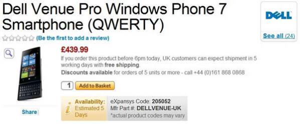UK consumers will only need to wait a few days to fetch a Dell Venue Pro