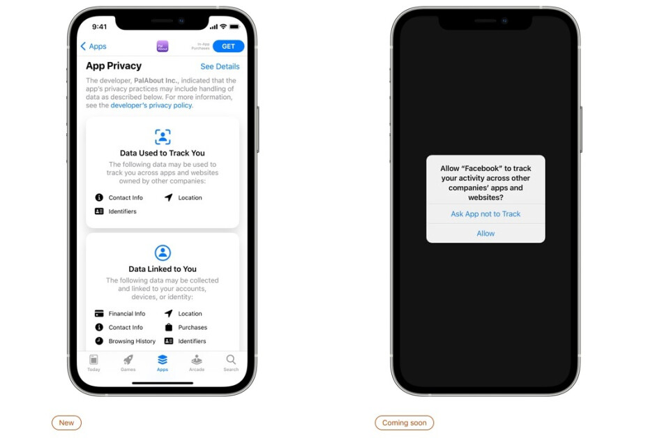 Apple's Privacy Labels at left, and App Tracking Transparency feature on the right - Find out what data Apple's own apps collect from you!
