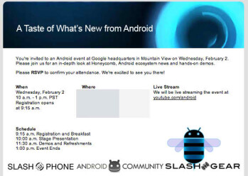 Google sends out invitations for an event that dives further into Honeycomb