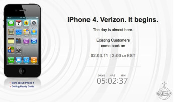 Verizon's countdown clock lets you know how long until you can pre-order the carrier's version of the Apple iPhone 4