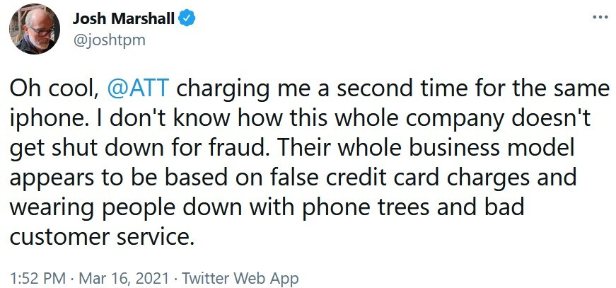 A quick rundown of the incident tweeted by Josh Marshall - AT&T customer complains to the NY AG and the FCC about the carrier