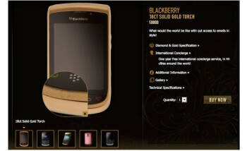 $12,000 BlackBerry Torch 9800 is covered with 18k gold