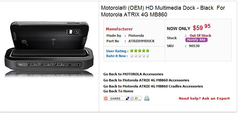Dock for the Motorola ATRIX 4G is found online selling for $59.95