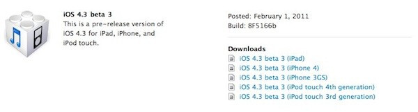 Apple pushes out third beta of iOS 4.3 to developers