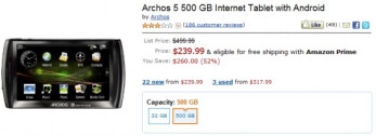 Amazon slashes the price of the Android powered Archos 5 tablet to $240