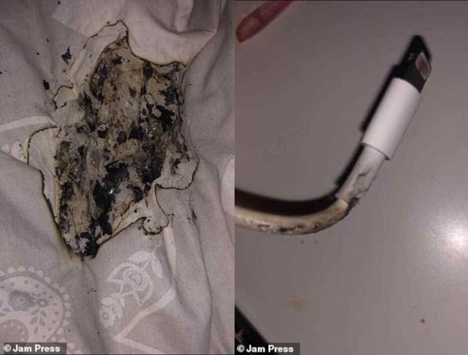 Amie's charger and mattress after the damage was done - iPhone charger catches fire, leaving girl's face burned