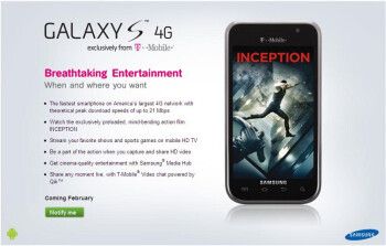 T-Mobile Galaxy S 4G is the first HSPA+ phone capable of 21Mbps downloads, coming February