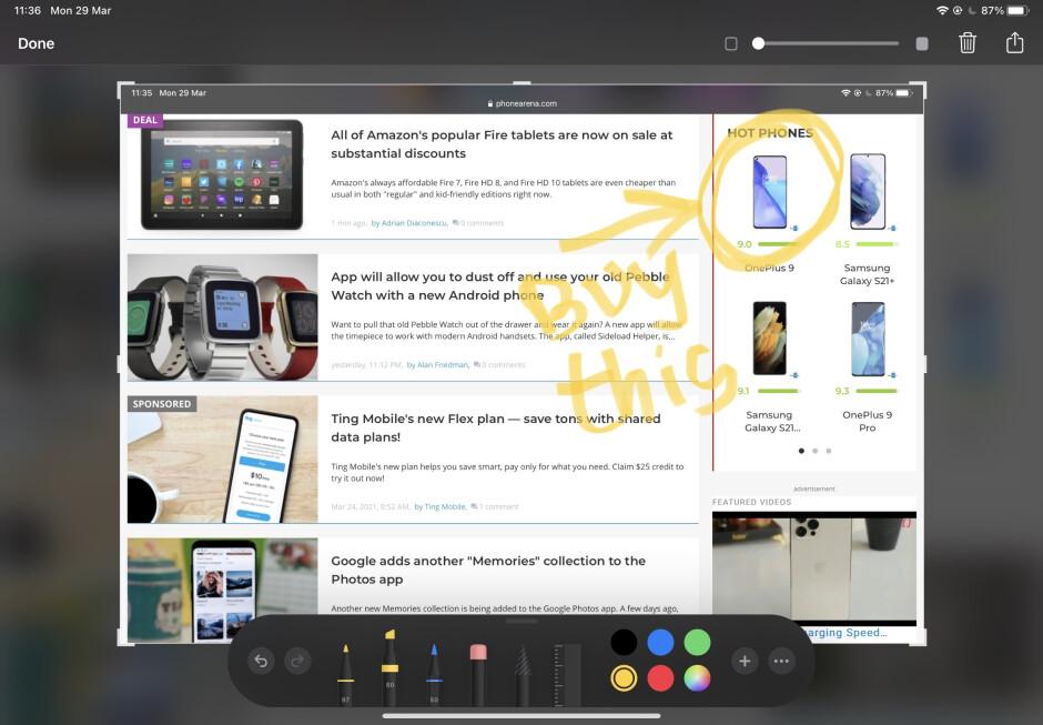 Editing your screenshot is simple and straightforward - How to take a screenshot on iPad