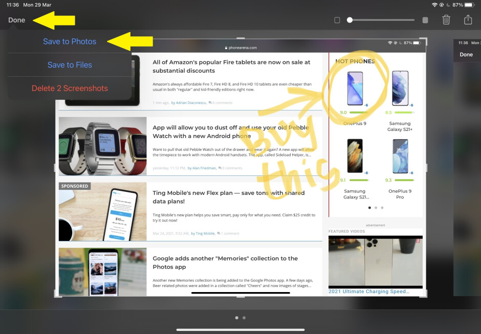 Press Done to save your screenshot to Photos, or alternatively– to Files - How to take a screenshot on iPad