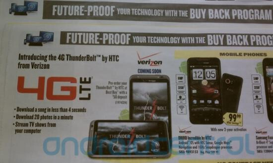 HTC Thunderbolt appears in Best Buy circular