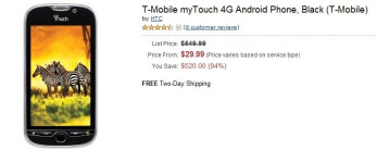 T-Mobile myTouch 4G priced by Amazon at $29.99