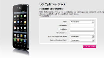 T-Mobile UK now has a register page up for the LG Optimus Black